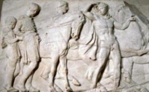 Fig 17 Fidia Scene di battaglia Frontone del Partenone